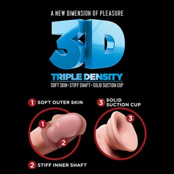 PD5719-21 8″ Triple Density Fat Cock with Balls