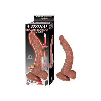 NATURAL REALSKIN HOT COCK 8 INCH CURVED BROWN