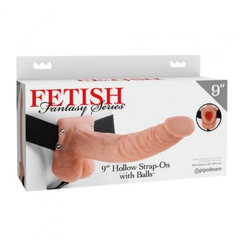 """PD3374-21 9"""" Hollow Strap On with Balls"""