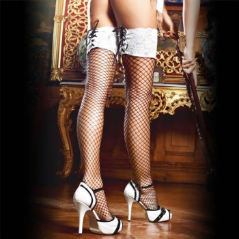 MEDIAS BACI 1345 WHITE LACE TOP FISHNET TIGH HI