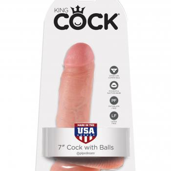 """PD5506-21 KING COCK - 7"""" COCK W / BALLS FLE"""
